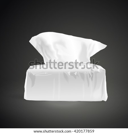 pack of open tissue paper isolated on black background. 3D illustration. - stock photo