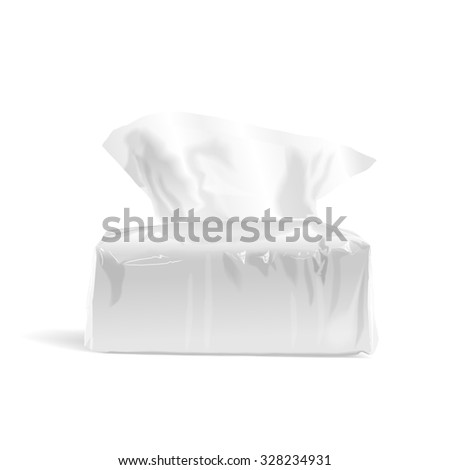 pack of open tissue paper isolated on white background - stock photo