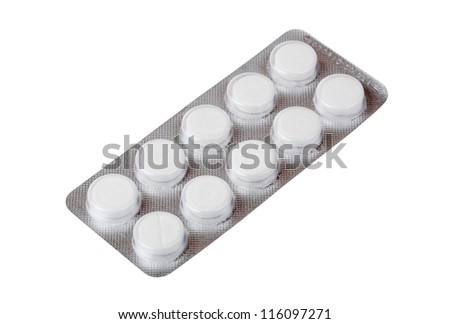 Pack of pills isolated on white - stock photo