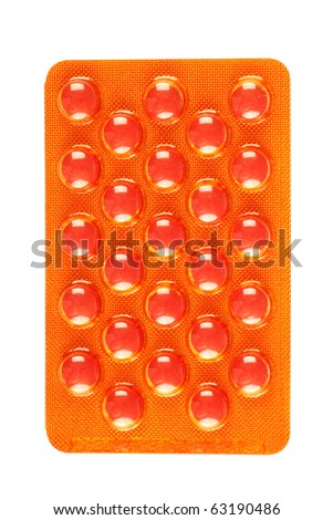 Pack of pills isolated on white background - stock photo