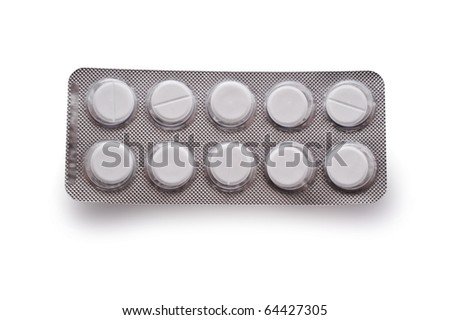 pack of pills isolated one white background - stock photo