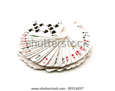 Pack of playing cards isolated on a white background - stock photo