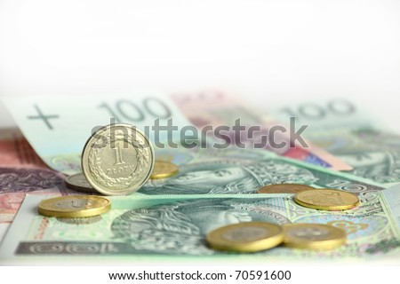 Pack of polish currency, banknotes and coins