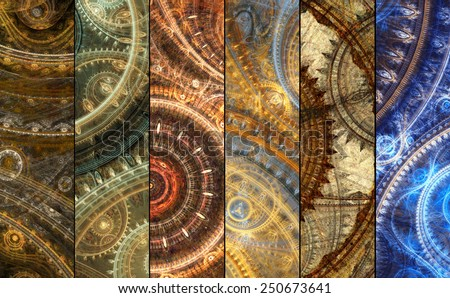Pack of six mechanical and steampunk fantasy banners - stock photo