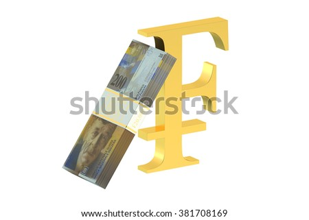 pack of swiss franc with franc symbol isolated on white background - stock photo