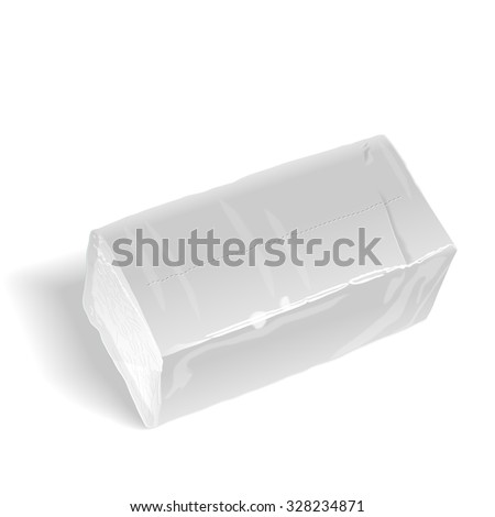 pack of tissue paper isolated on white background - stock photo
