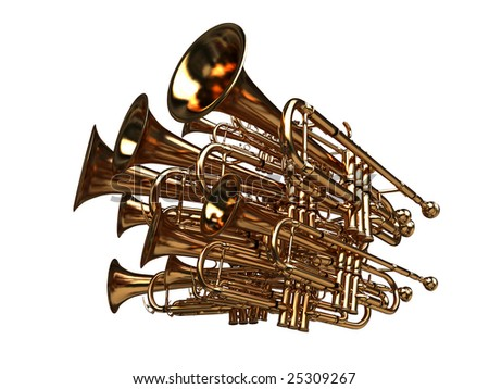 pack of trumpets - noise symbol - 3d render with clipping path - stock photo