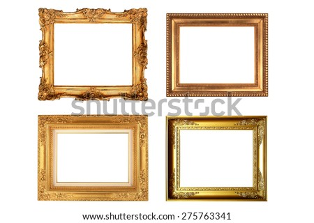 Pack of vintage picture frame isolate on white background