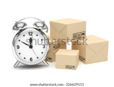 Package and alarm clock, delivery concept - stock photo