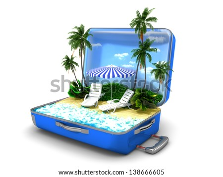 Package beach vacation - stock photo
