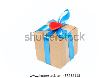 Package box with blue ribbon and purple heart isolated on white background - stock photo