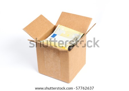 Package box with euro isolated on white background - stock photo
