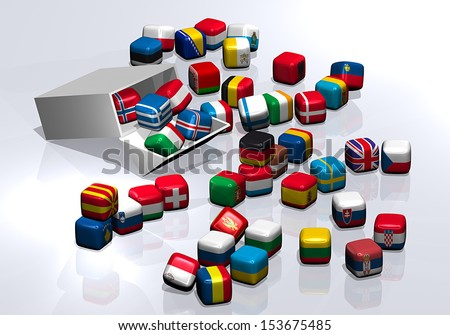 Package candy chewing gum cube flags - stock photo