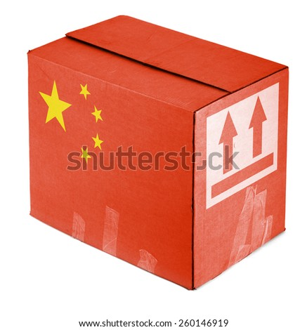 Package from China on white background - stock photo