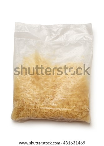 Package of dry white rice in closeup