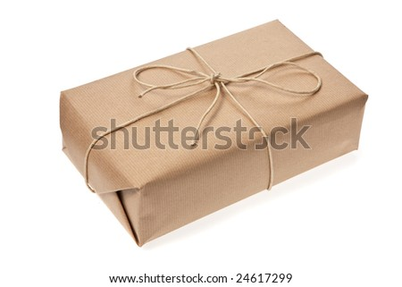 Package was delivered with cord - stock photo