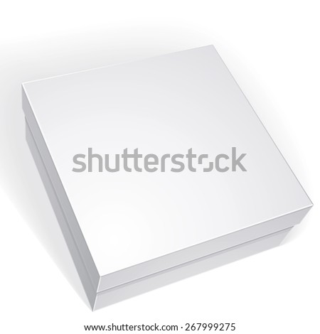 Package white box design isolated on white background, template for your package design, put your image over the box in multiply mode - stock photo