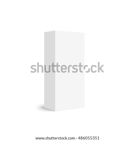 Package white box on a white background.  Realistic 3d blank for perfume, Software, electronic device, tea box and other products.