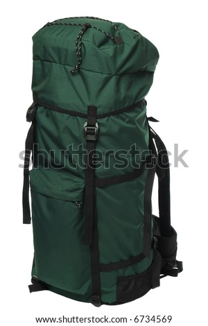 Packaged green backpack, isolated on white background
