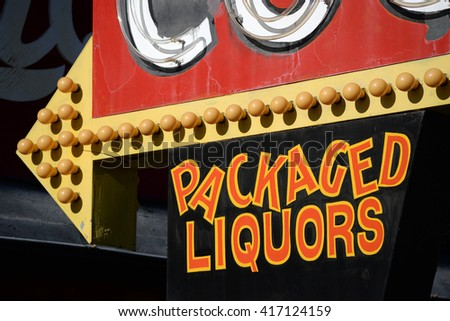 packaged liquors sign - stock photo