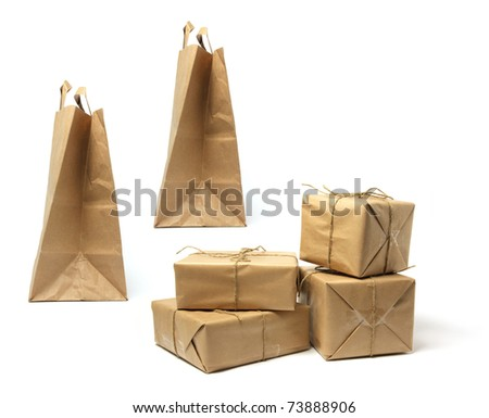 Packages and Shopping Bags on White Background - stock photo