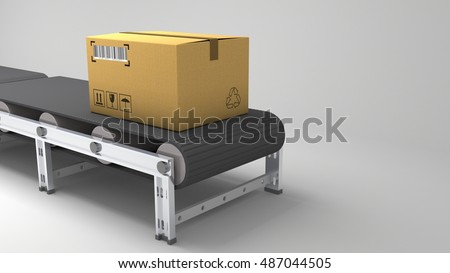 Packages delivery cardboard boxes on conveyor belt in warehouse, 3d illustration for use in presentations, education manuals, design, etc. 3D illustration
