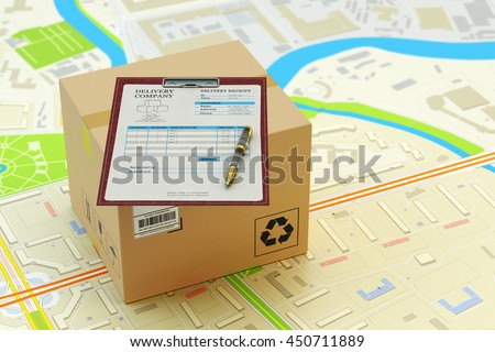 Packages delivery service, parcels transportation, transport of purchases, logistics and business concept, cardboard box and clipboard with receipt form on city map, 3d illustration - stock photo