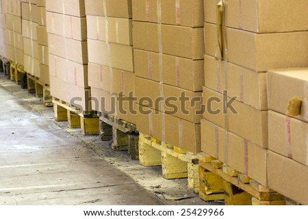 packages on the pallets - stock photo