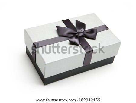 Packaging box / studio shot of black and white box wrapping ribbon with bowknot - on white background  - stock photo
