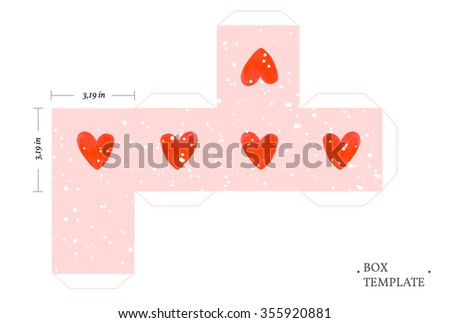 Packaging box template wit hand drawn painted watercolor red hearts. Valentines day background.