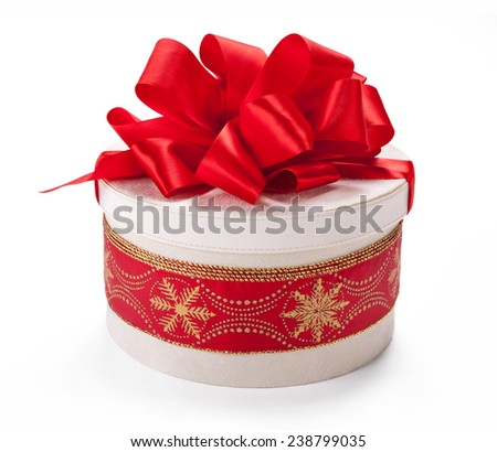 Packaging box. Wedding & Happy Birthday concept / studio shot of red and white box wrapping ribbon with bowknot - on white background  - stock photo