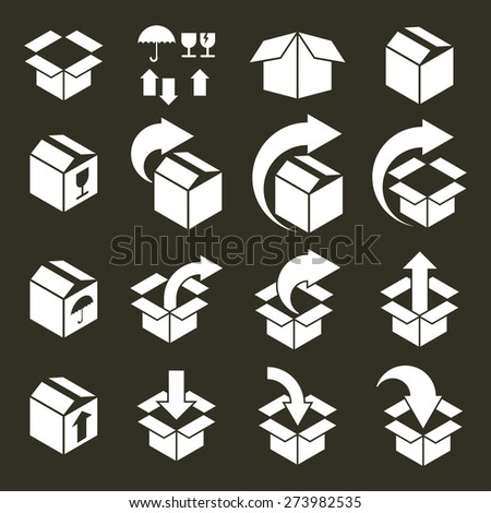 Packaging boxes icons set, pack simplistic symbols collections. - stock photo
