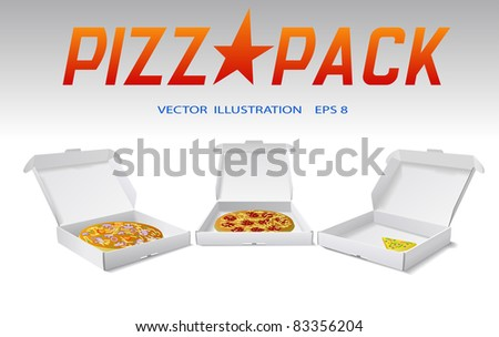 Packaging boxes of pizza are shown on the image. - stock photo