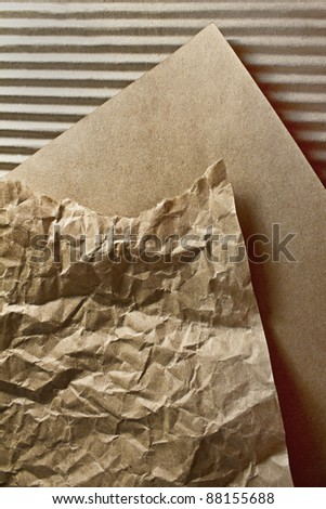 packaging crumpled paper and corrugated cardboard textures - stock photo
