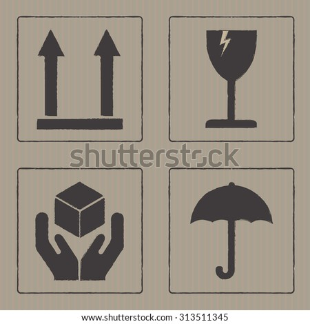 Packaging icons or sign set. Fragile symbols on cardboard texture. - stock photo