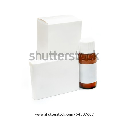 Packaging of medicines on a white background - stock photo