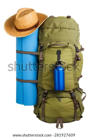 Packed camping backpack with camping bed, blue bottle and straw hat isolated on white background  - stock photo