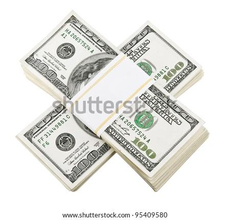 packed dollar money isolated on white background - stock photo