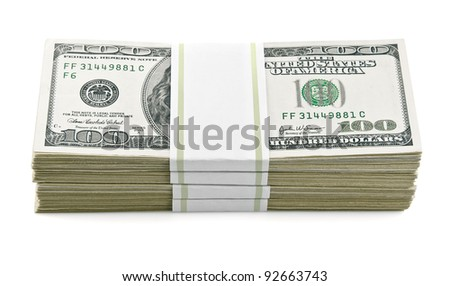 packed dollars money isolated on white background - stock photo