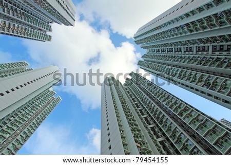 Packed Hong Kong public housing - stock photo