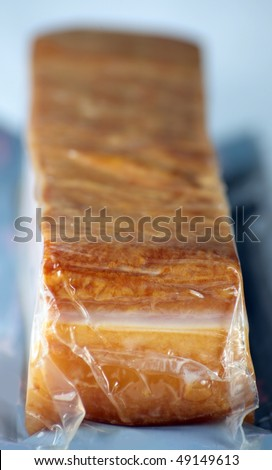 packed pork bacon as meat food - stock photo
