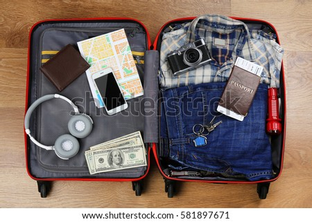 list of synonyms and antonyms of the word old suitcase packed