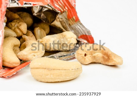 packet of cashew nuts - stock photo