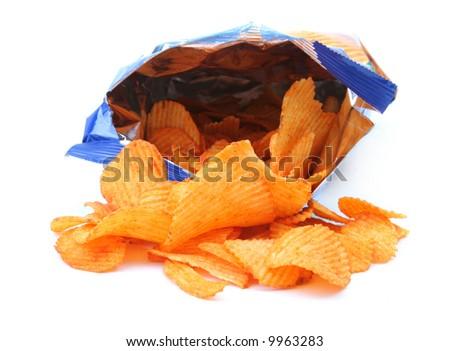 packet of potato crisps isolated on white background - stock photo
