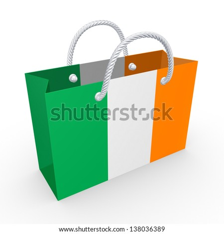 Packet with flag of Ireland.Isolated on white.3d rendered.