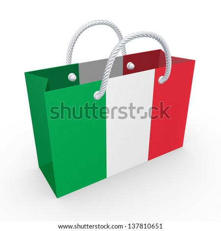 Packet with flag of Italy.Isolated on white.3d rendered.
