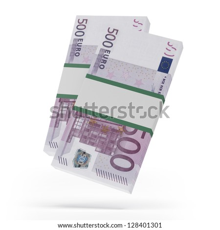 Packets of 500 Euro notes - stock photo