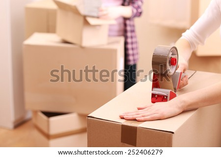 Packing boxes close-up - stock photo