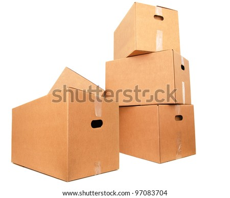 Packing cardboard boxes - stock photo