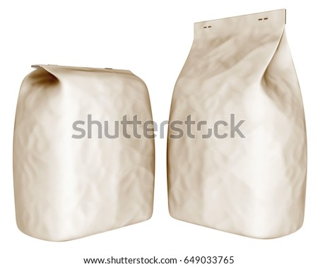 Packing from recycled paper. The bag. 3d image set isolated on white.